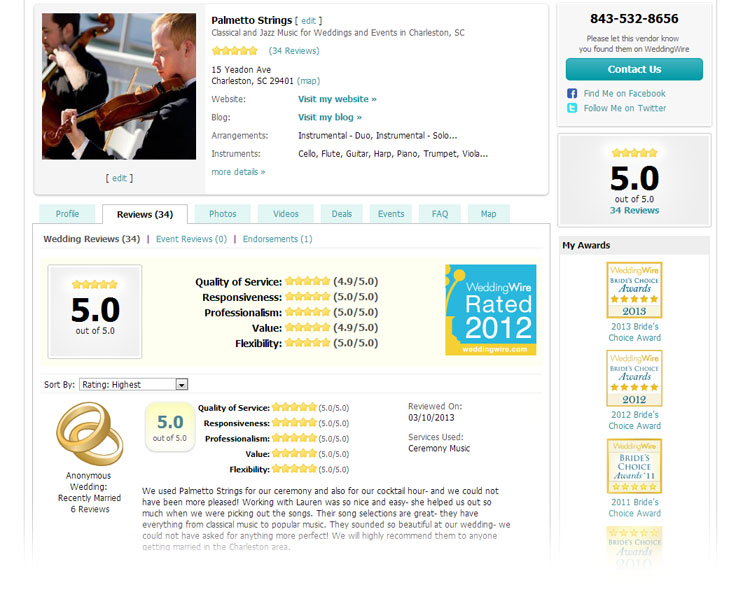 Wedding Reviews for Palmetto Strings